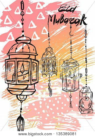 Eid Mubarak letteringhand draw abstract greeting background.Eid backgroundeid greetings cardeid cardshiny lampseid celebrationeid al adha.Holidaymuslim community festival greeting card template