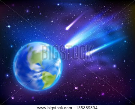 Bright comets coming to earth on dark starry sky background cartoon vector illustration