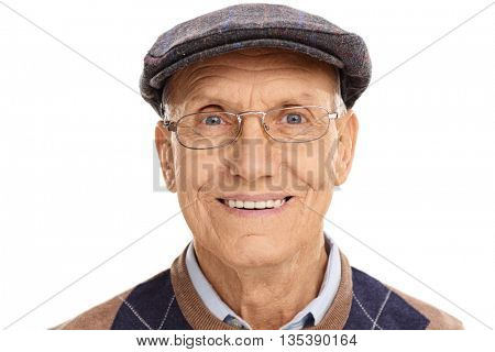 Portrait of a senior gentleman with a gray beret isolated on white background