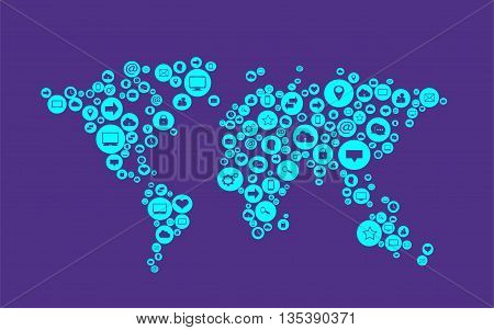 world map neon color flat with social media icons vector