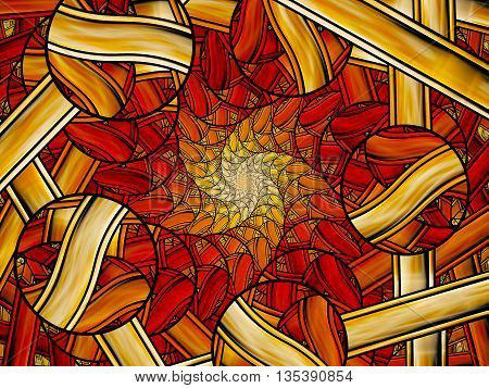 Fiery stained glass fractal computer generated abstract background