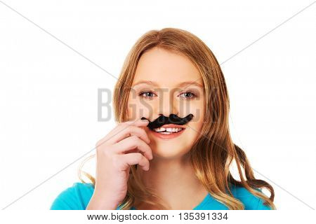 Happy young woman with a moustache