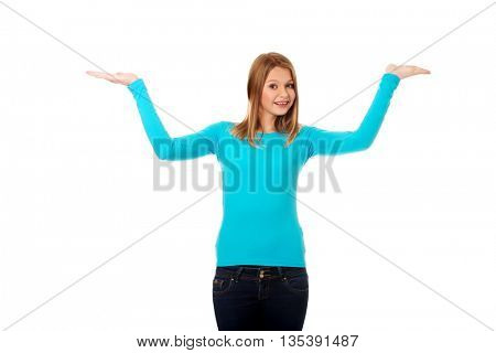 Woman presenting something on palms