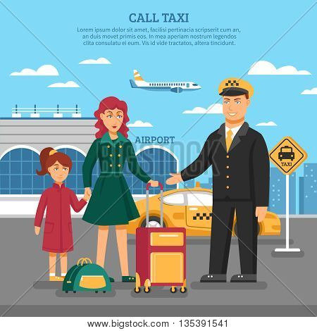 Taxi service poster with description of taxi to airport and a taxi driver added services for transfer of luggage vector illustration