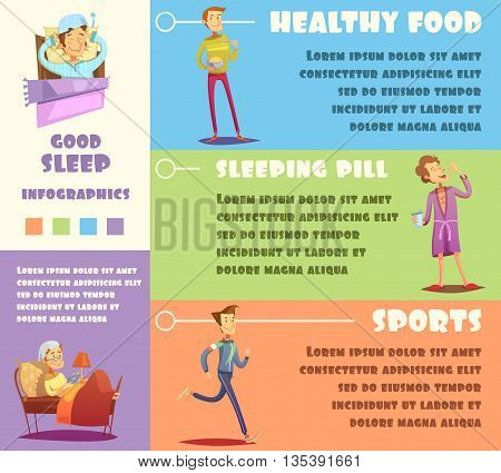 Color infographic depicting reason of good sleep healthy food sleeping pill sports vector illustration