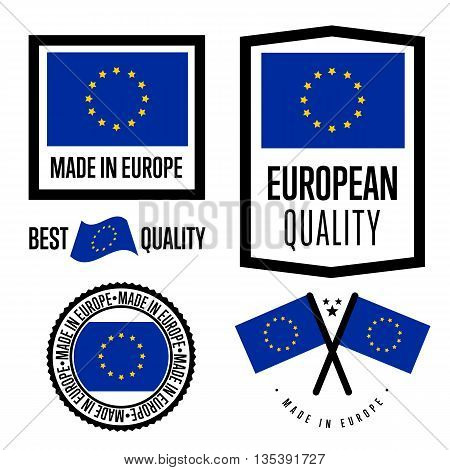 Made in Europe label set. Vector European flag. Symbol of quality. Manufacturing by Europe. Tags and sticker collection. Vintage and modern stamp.