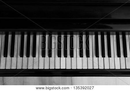 Black and white piano keys, close up