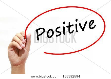Man Hand writing Positive with marker on transparent wipe board. Isolated on white. Business, internet, technology concept.