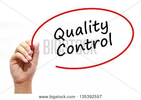 Man Hand writing Quality Control with marker on transparent wipe board. Isolated on white. Business, internet, technology concept.