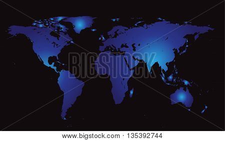 world map vector flat blue color without borders