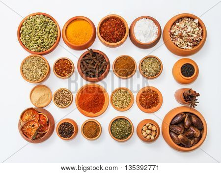 Spices And Herbs On White Background For Decorate Spices Content,indian Spices In Terracotta Pots, I