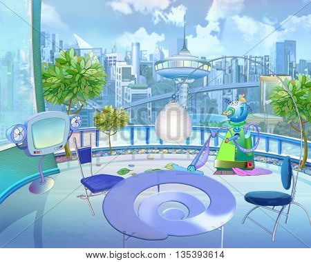 Digital Painting Illustration of a Colorful Futuristic view of the city in a Children's fantasies. Cartoon Style Artwork Scene Story Background Card Design