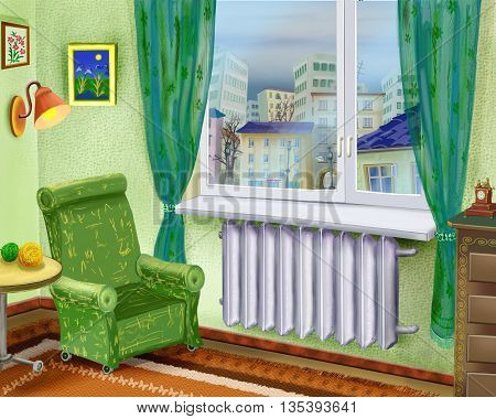 Digital Painting Illustration of a Cartoon Room Interior with Armchair Near a Window and summer city landscape in the window. Cartoon Style Character Fairy Tale Story Background