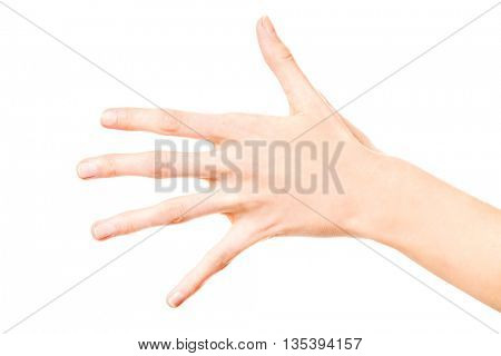 Woman hand showing five fingers, isolated on a white background.