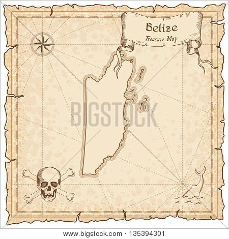 Belize Old Pirate Map. Sepia Engraved Template Of Treasure Map. Stylized Pirate Map On Vintage Paper