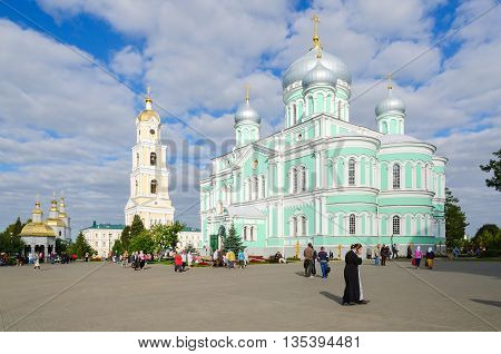 DIVEEVO RUSSIA - AUGUST 22 2015: Unidentified people are on Cathedral Square in Holy Trinity Seraphim-Diveevo monastery in village of Diveevo Russia