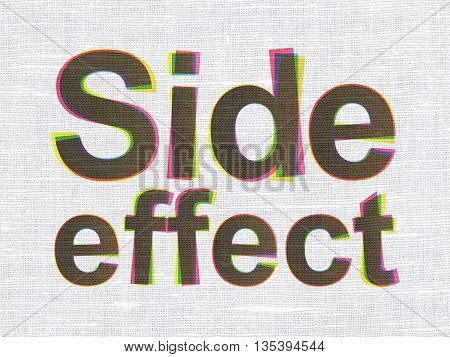 Health concept: CMYK Side Effect on linen fabric texture background