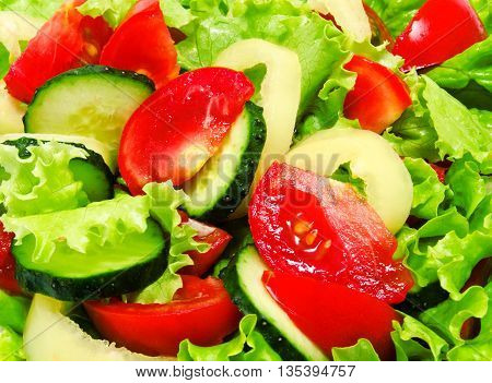 Background of fresh vegetable dietary perfect salad