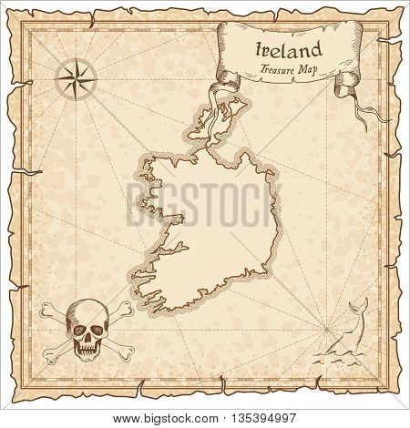 Ireland Old Pirate Map. Sepia Engraved Template Of Treasure Map. Stylized Pirate Map On Vintage Pape