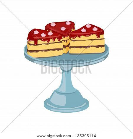 Three pieces of cake. Vector sliced portion of sponge cake with chocolate creamy layer, decorated with cherry cream Isolated image of a delicious tasty cake on white background for menu design, coffee