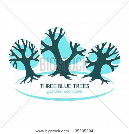Three blue trees isolated on white. Logo for gardening services. Vector design template.