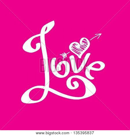 Vector letters love text doodles, valentines day background