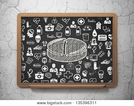 Medicine concept: Chalk White Pill icon on School board background with  Hand Drawn Medicine Icons, 3D Rendering