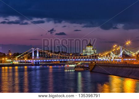 Cathedral of Christ the Saviour and Krymsky Bridge in Moscow