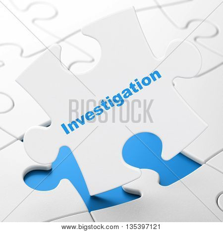 Science concept: Investigation on White puzzle pieces background, 3D rendering