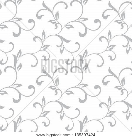 Tender Seamless Pattern. Tracery Of Twisted Stalks With Decorative Leaves On A White Background. Vin