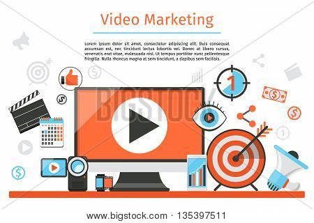 Video marketing. Abstract vector concept background. Goal and target, aim and camera, optimization marketing, internet marketing illustration