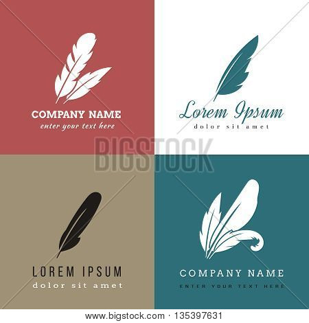 Feather vector logo templates. Feather sign, feather logo, bird feather emblem or label illustration