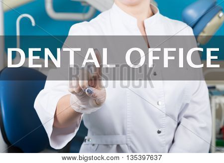 technology, internet and networking in medicine concept - medical doctor presses dental office button on virtual screens. Internet technologies in medicine.