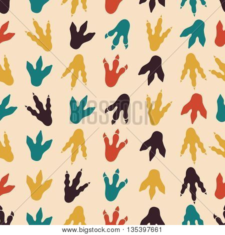 Dinosaur footprints vector seamless pattern. Seamless background footprint, paw footprint mammal, claw predator footprint pattern illustration