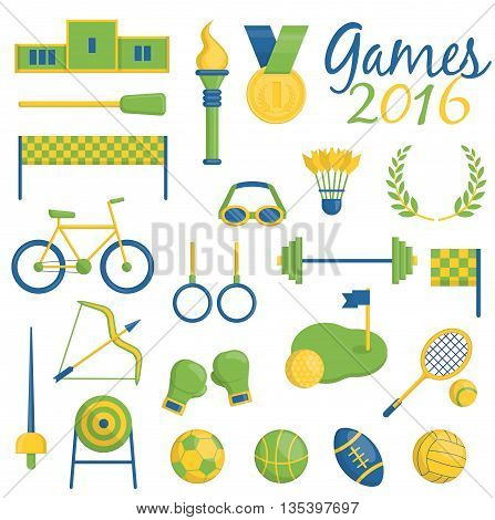 A set of Brazilian flag color themed sport icons devoted to sports events 2016 in brazil. Sports competition items medals inventory and symbols.