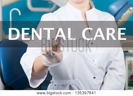 technology, internet and networking in medicine concept - medical doctor presses dental care button on virtual screens. Internet technologies in medicine.