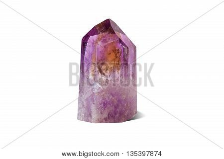 Crystal of natural gemstone amethyst. Isolated on the white background.