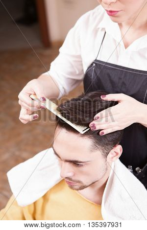 Top view of hairdresser combing handsome man's in hairdressing salon. Man having his hair cut by barber girl.