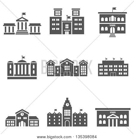 School building vector icons. Building architecture school, house school, construction school, urban building exterior illustration