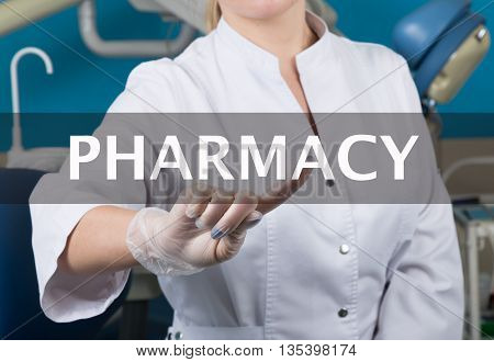 technology, internet and networking in medicine concept - medical doctor presses pharmacy button on virtual screens. Internet technologies in medicine.