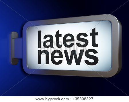 News concept: Latest News on advertising billboard background, 3D rendering