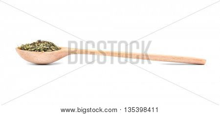 Dried tarragon in spoon on white background