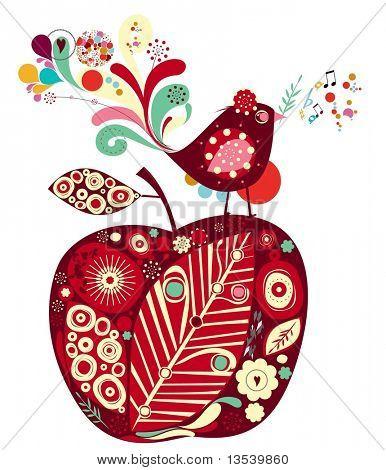 süße Vogel und apple