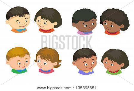 Cartoon kids icon boy girl icon head in pair isolated vector illustration european