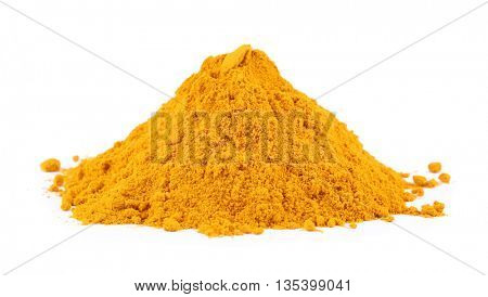 Powdered turmeric isolated on white