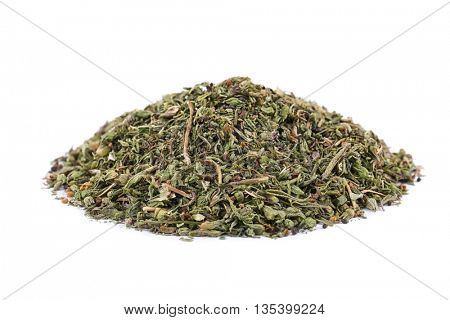 Dried tarragon isolated on white