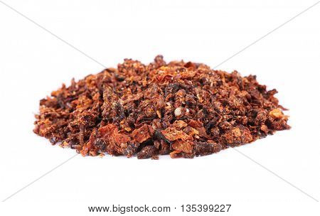Dried chopped tomatoes isolated on white