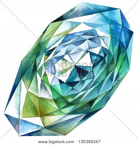 Watercolor illustration of diamond crystal. Big green emerald.