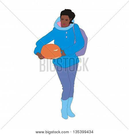 Illustration fashion young woman carrying shopping and big torte in her hands