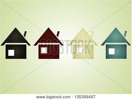 picture of houses of different colors that are slightly different from each other